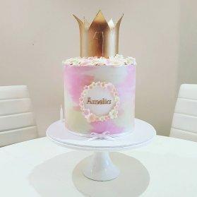 کیک فانتزی جشن تولد یکسالگی دخترونه با تم پرنسس