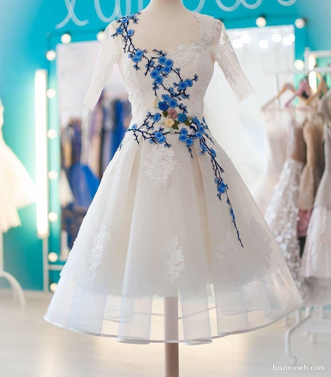 لباس مجلسی دخترونه با دامن پفی و آستین های کوتاه گلدوزی شده