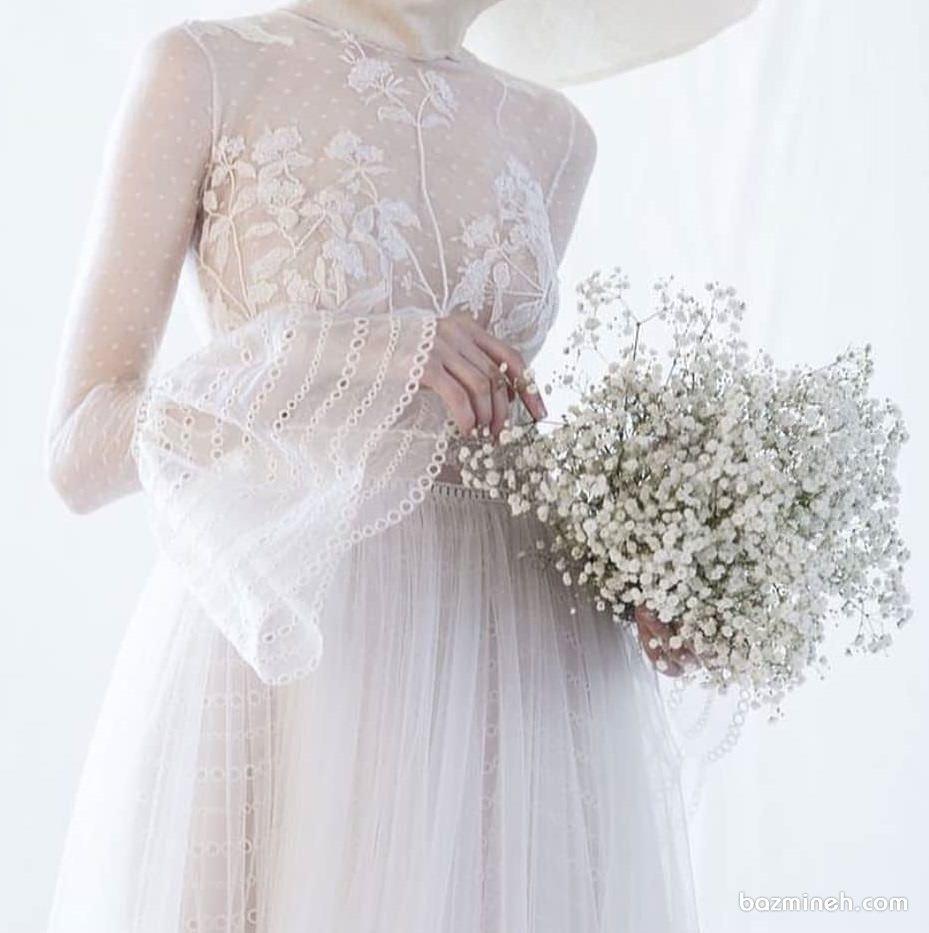 پیراهن توری پوشیده با آستین های پفی مناسب برای روز فرمالیته عروسی به سبک بوهو