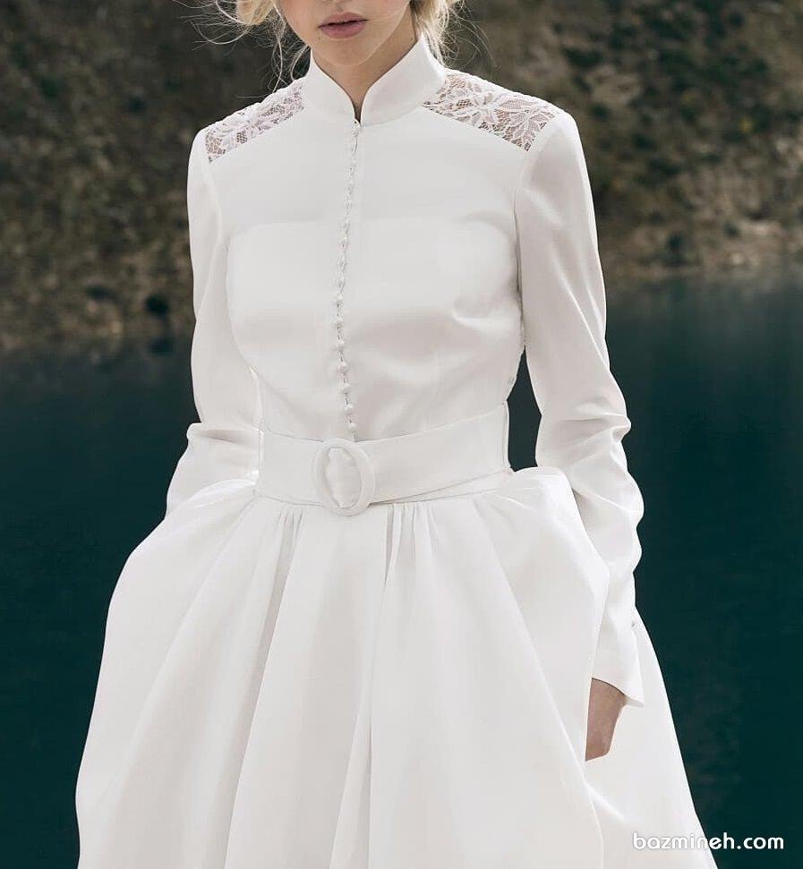 مدل شیک مانتو عقد سفید رنگ کمر دار با دامن مدل کلوش