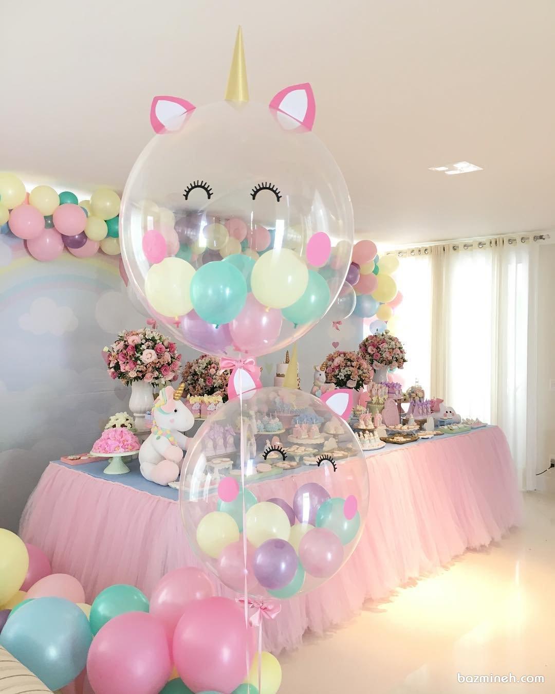 دکوراسیون و بادکنک آرایی فانتزی جشن تولد دخترونه با تم یونیکورن (Unicorn)
