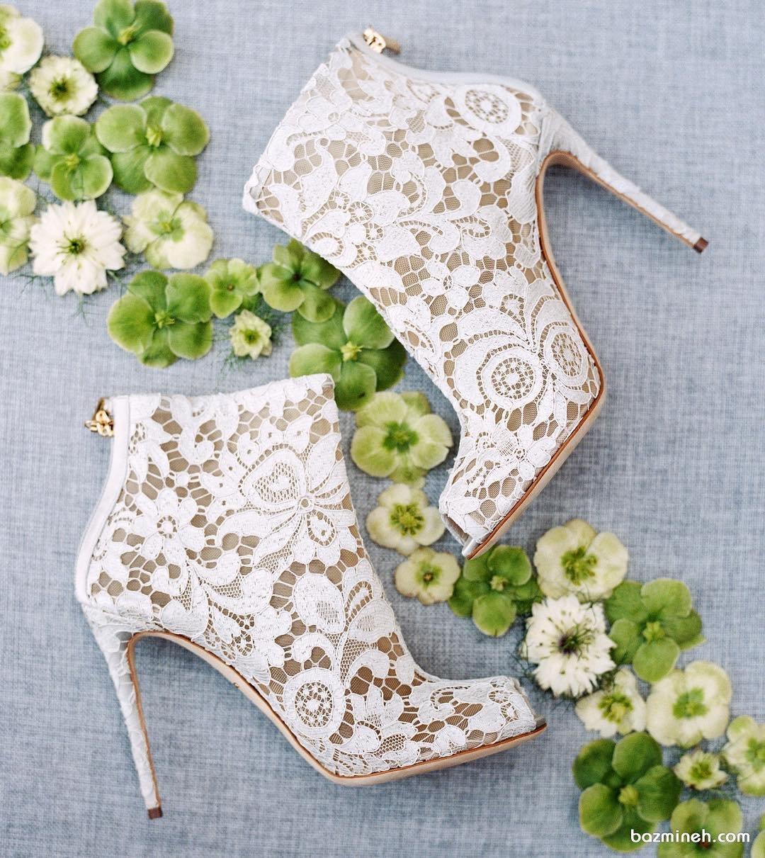 کفش سفید گیپوری عروس