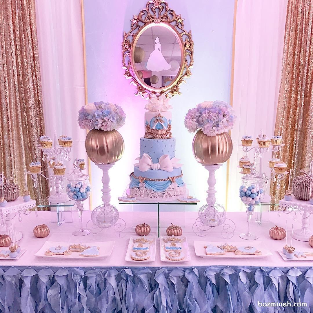 دکوراسیون شیک و زیبای جشن تولد دخترونه با تم پرنسس سیندرلا