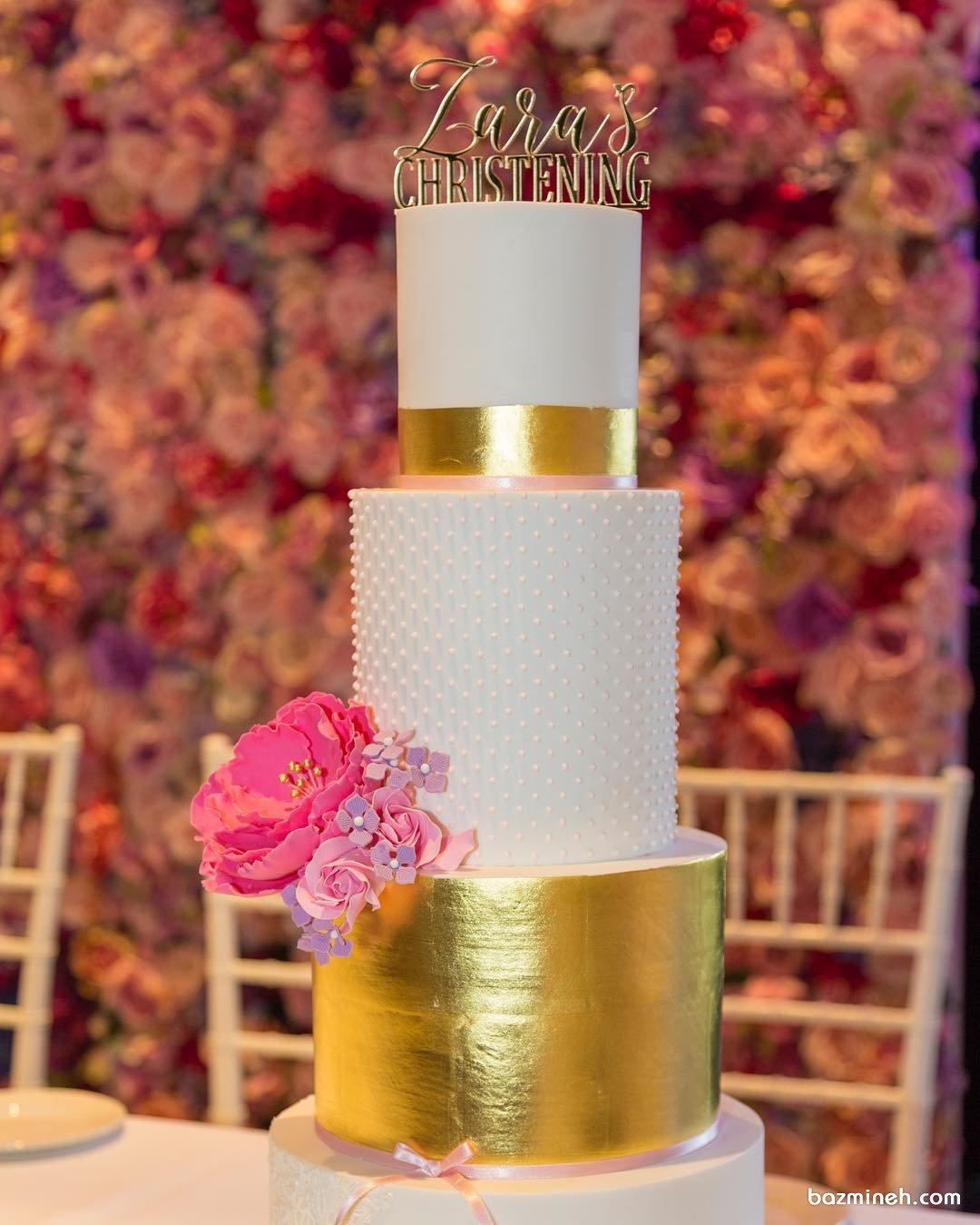 کیک سه طبقه جشن تولد بزرگسال یا سالگرد ازدواج با تم سفید طلایی