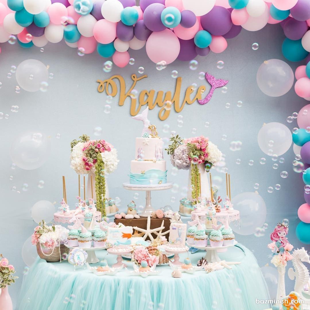 دکوراسیون و بادکنک آرایی رویایی جشن تولد دخترونه با تم پری دریایی و ستاره دریایی