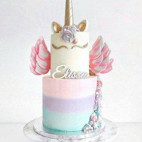 کیک دو طبقه رویایی جشن تولد دخترونه با تم اسب تک شاخ (Unicorn)