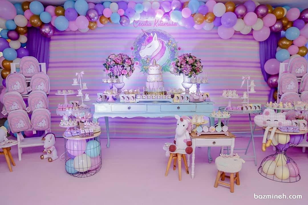 دکوراسیون و بادکنک آرایی شیک و رویایی جشن تولد دخترانه با تم یونیکورن (Unicorn)