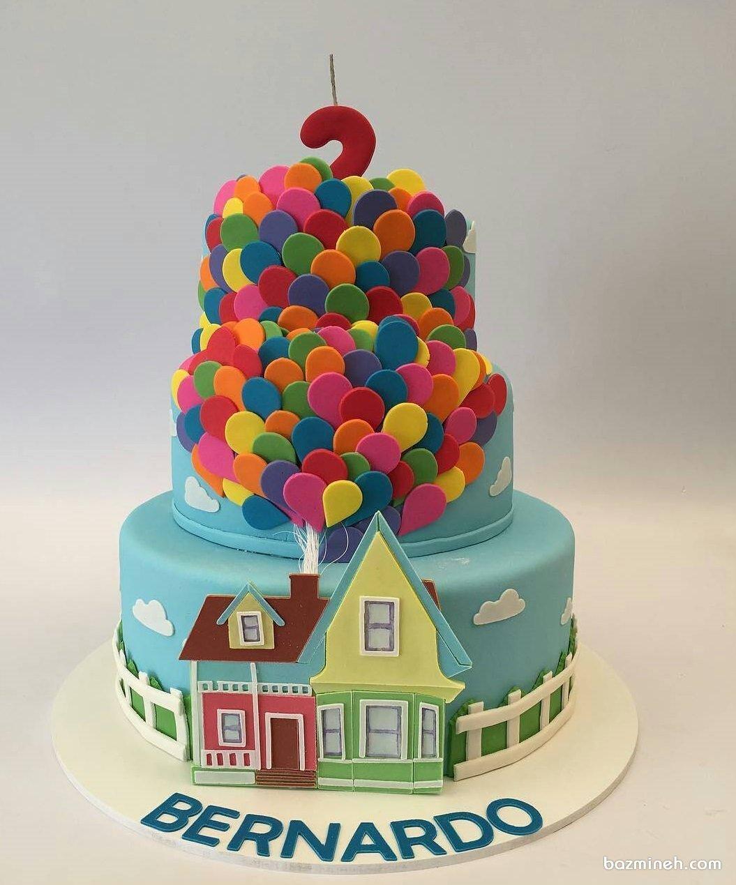 کیک چند طبقه فوندانت جشن تولد کودک با تم کارتون آپ (Up)