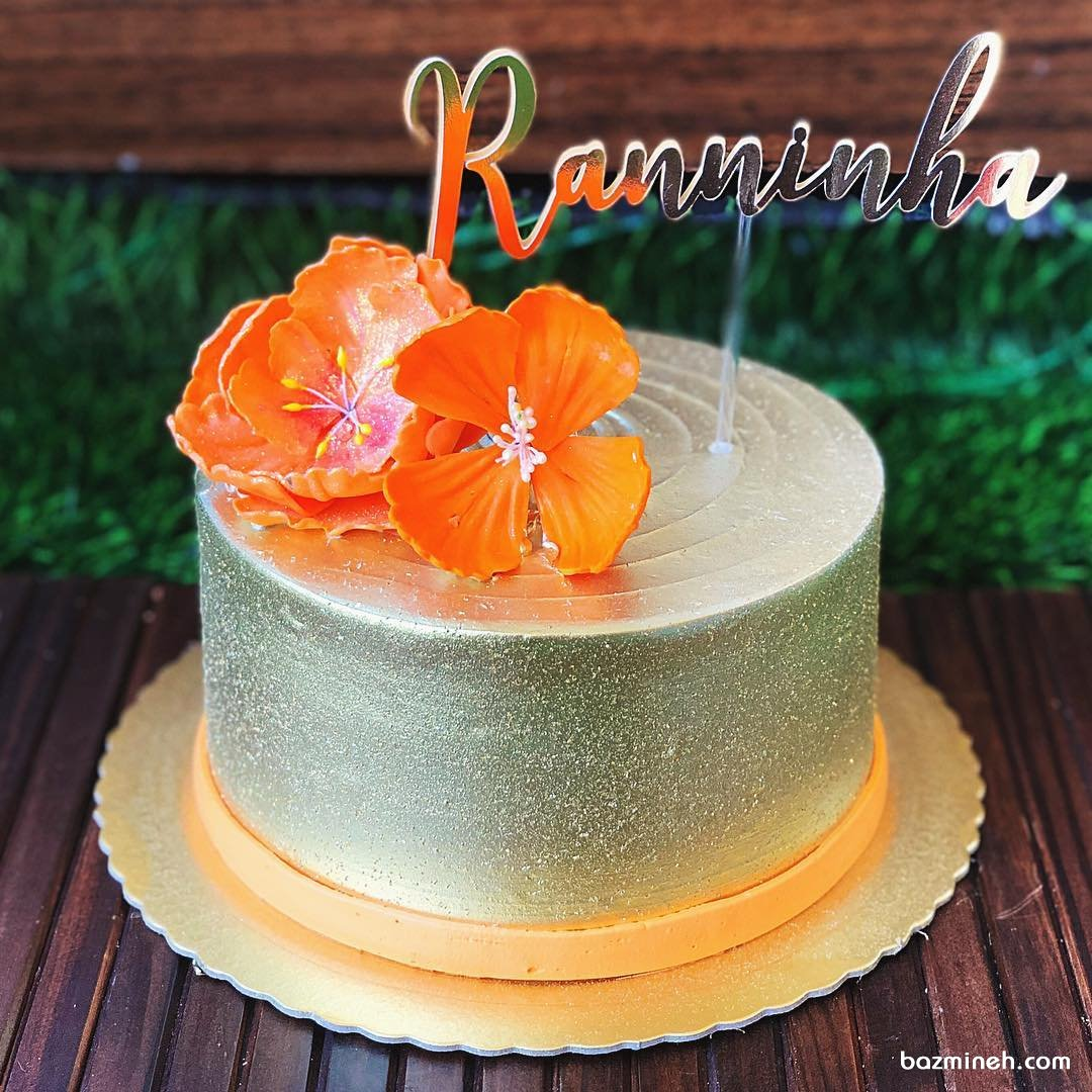 مینی کیک زیبای جشن تولد بزرگسال با تم طلایی نارنجی