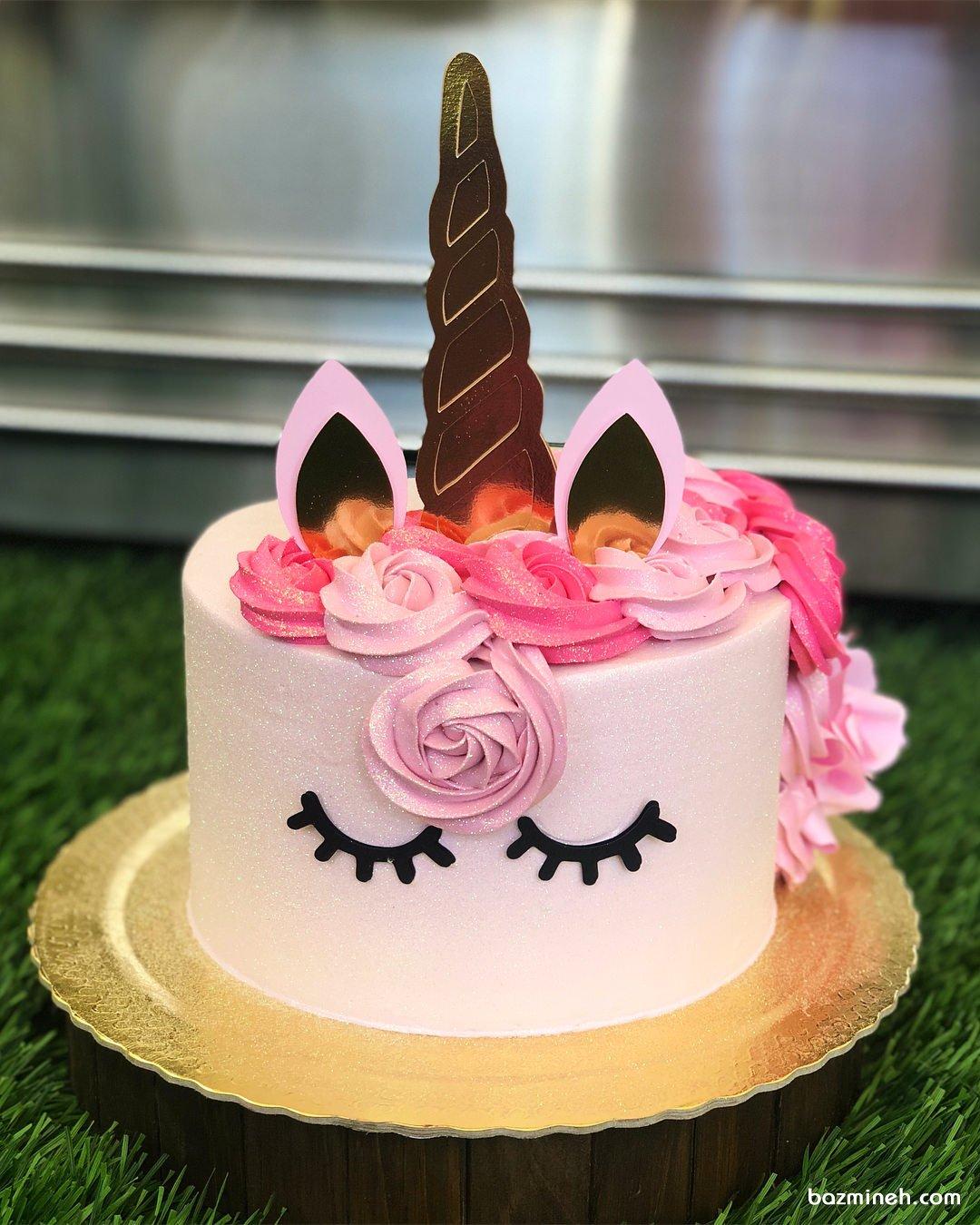 مینی کیک رویایی جشن تولد دخترونه با تم اسب تک شاخ (Unicorn)