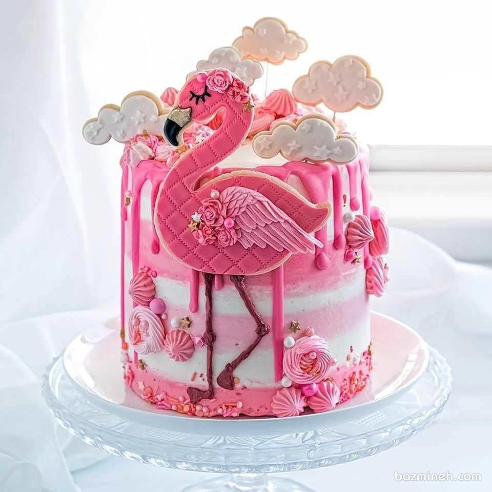 کیک فانتزی جشن تولد دخترونه با تم پرنده صورتی فلامینگو