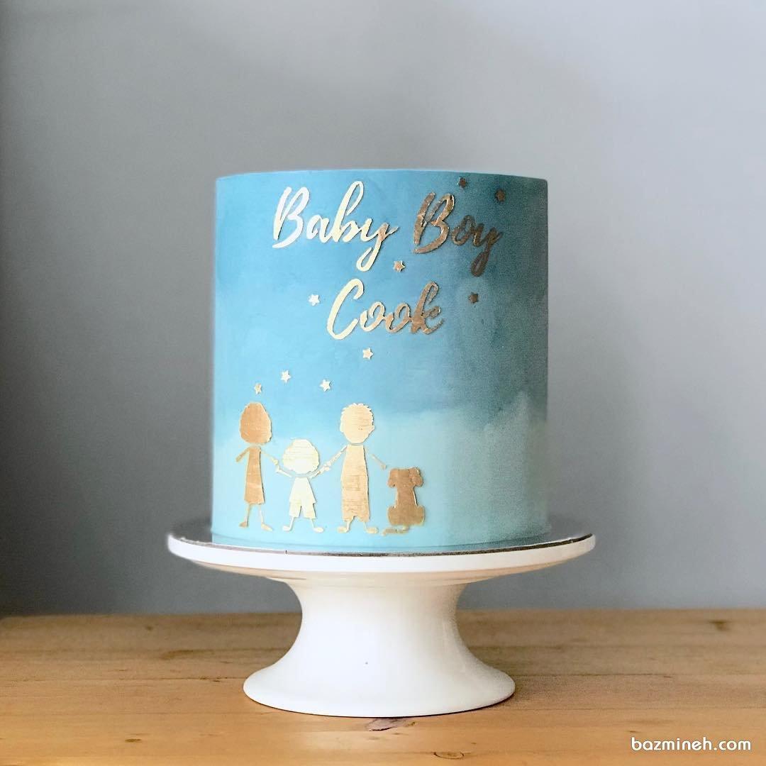 کیک زیبای جشن بیبی شاور پسرونه با تم آبی طلایی