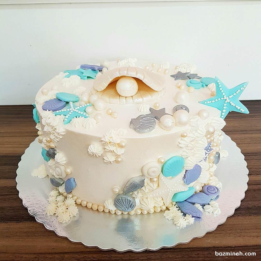 مینی کیک رویایی جشن تولد دخترونه با تم موجودات دریایی