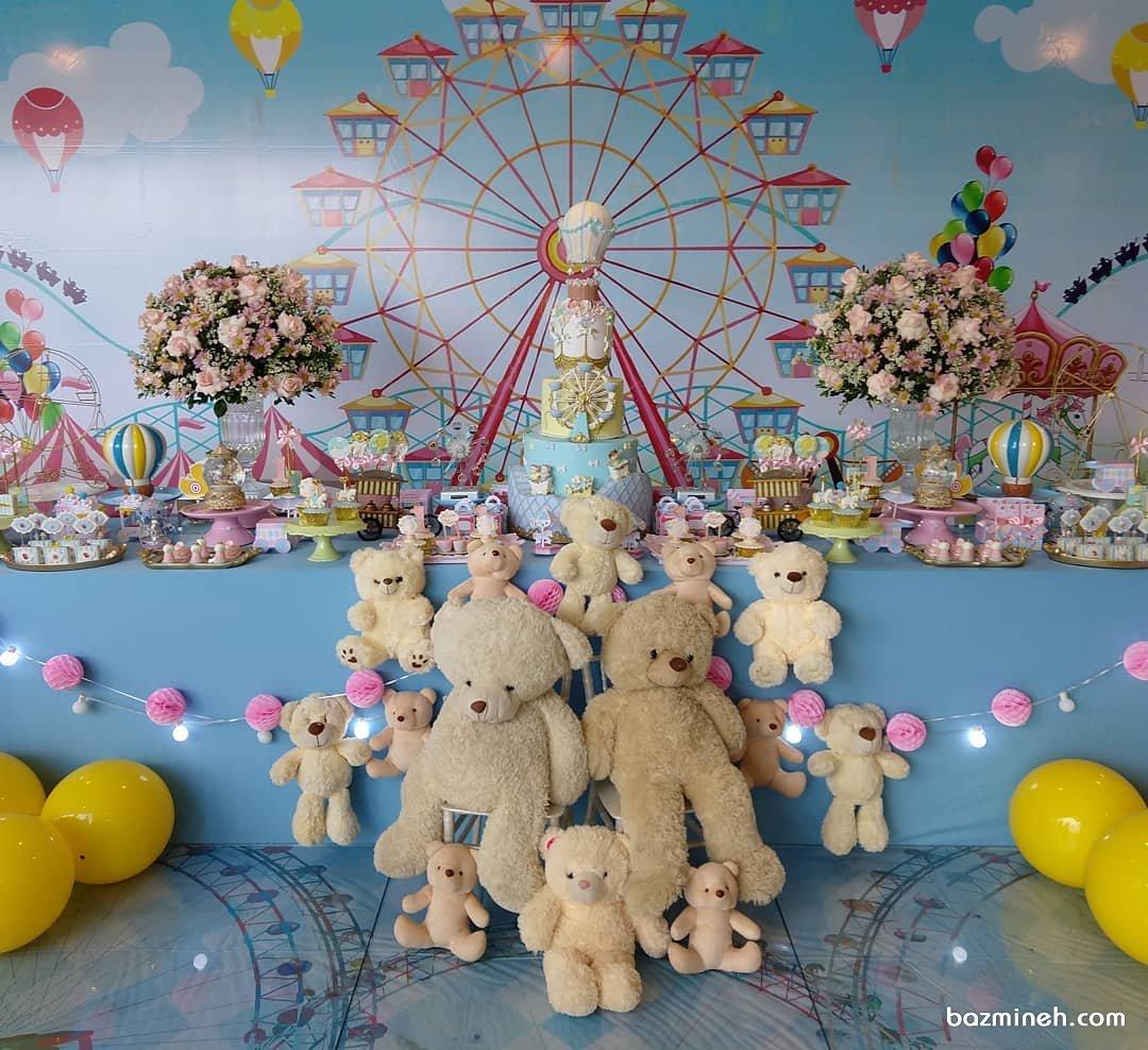 دکوراسیون جشن تولد کودک با تم بالن و خرس تدی