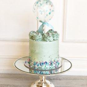 مینی کیک فانتزی جشن تولد پسرونه یا جشن بیبی شاور با تم آبی نقره ای