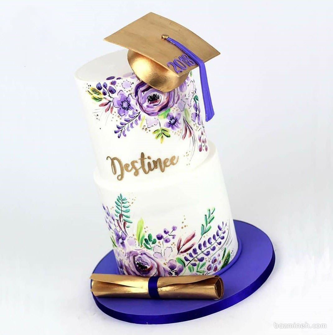 کیک خاص و زیبای جشن فارغ التحصیلی دخترونه با تم سفید بنفش طلایی
