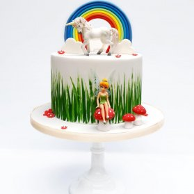 کیک جشن تولد دخترونه با تم تینکربل و اسب تک شاخ