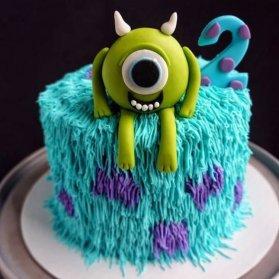 مینی کیک فانتزی جشن تولد دو سالگی کودک با تم کارخانه هیولاها