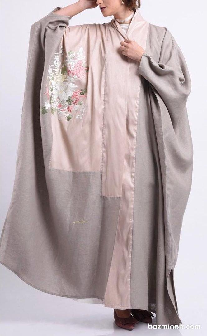 مدل مانتو عبایی جلو باز گلدوزی شده مناسب برای عروس خانم ها در مراسم عقد محضری