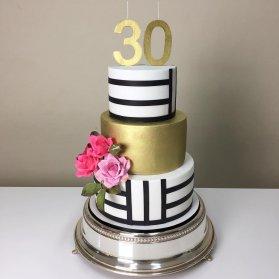 کیک سه طبقه شیک جشن تولد بزرگسال با تم سفید مشکی طلایی