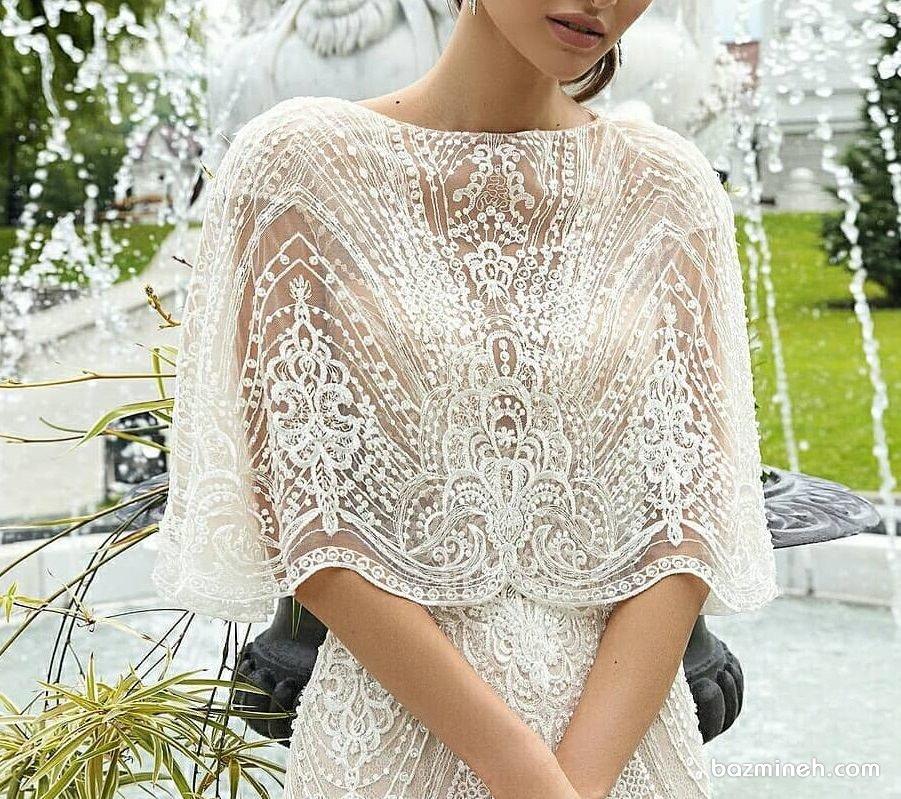 مدل بالا تنه پوشیده و شیک لباس نامزدی یا لباس روز فرمالیته عروسی با پارچه دانتل