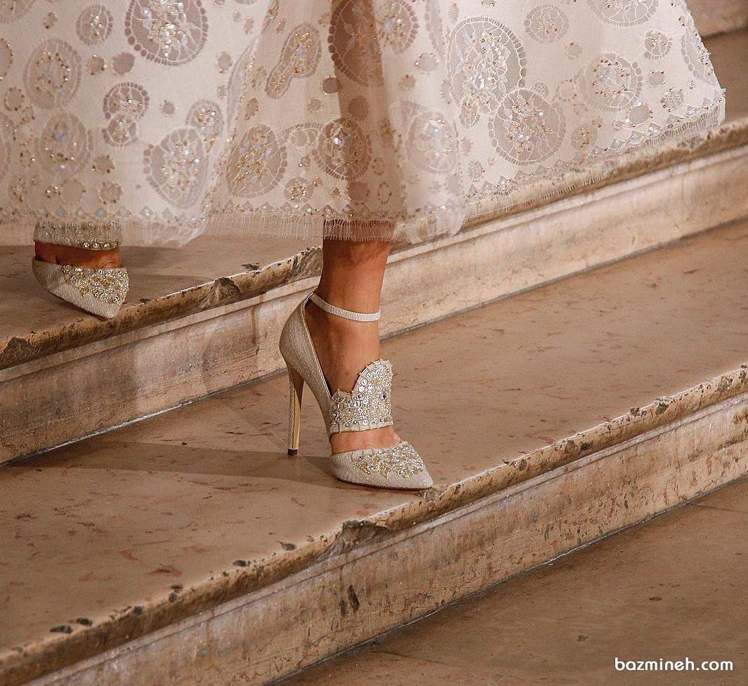 مدل زیبای کفش عروس نوک تیز پولک دوزی شده