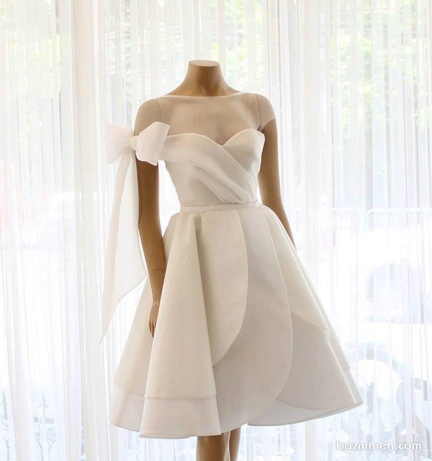 لباس عروس کوتاه مدلی متفاوت و خاص برای روز عروسی یا لباس روز فرمالیه