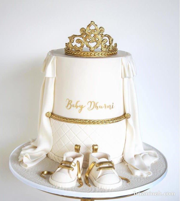 کیک دو طبقه زیبای جشن بیبی شاور یا تعیین جنسیت با تم سفید طلایی