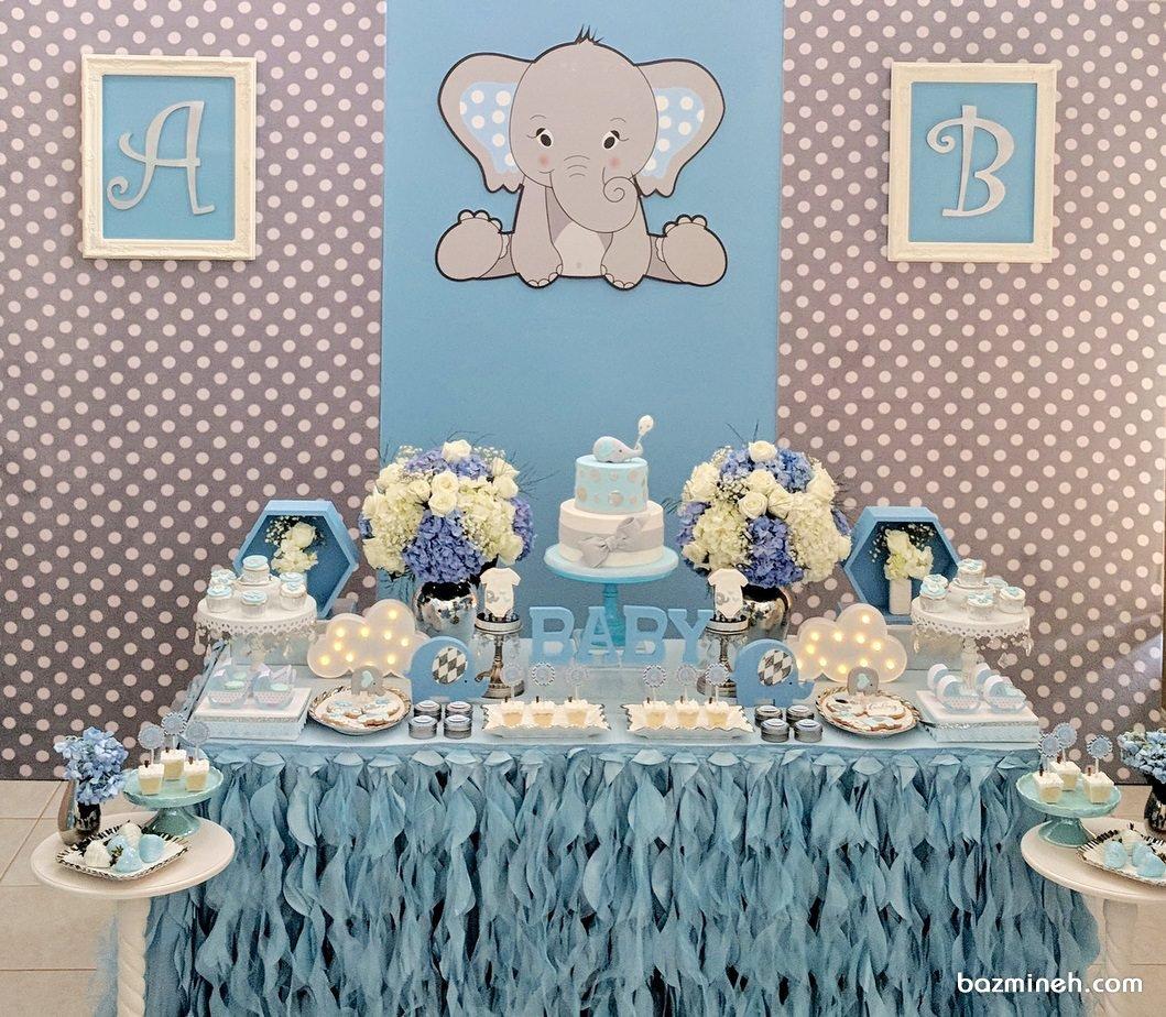 دکوراسیون جشن بیبی شاور پسرونه با تم فیل کوچولو طوسی آبی