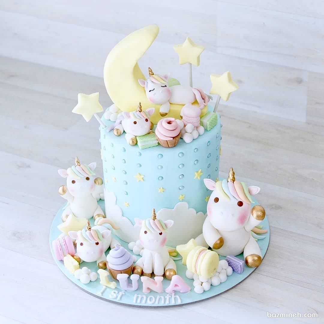 مینی کیک بامزه جشن تولد دخترونه با تم اسب تک شاخ (Unicorn)
