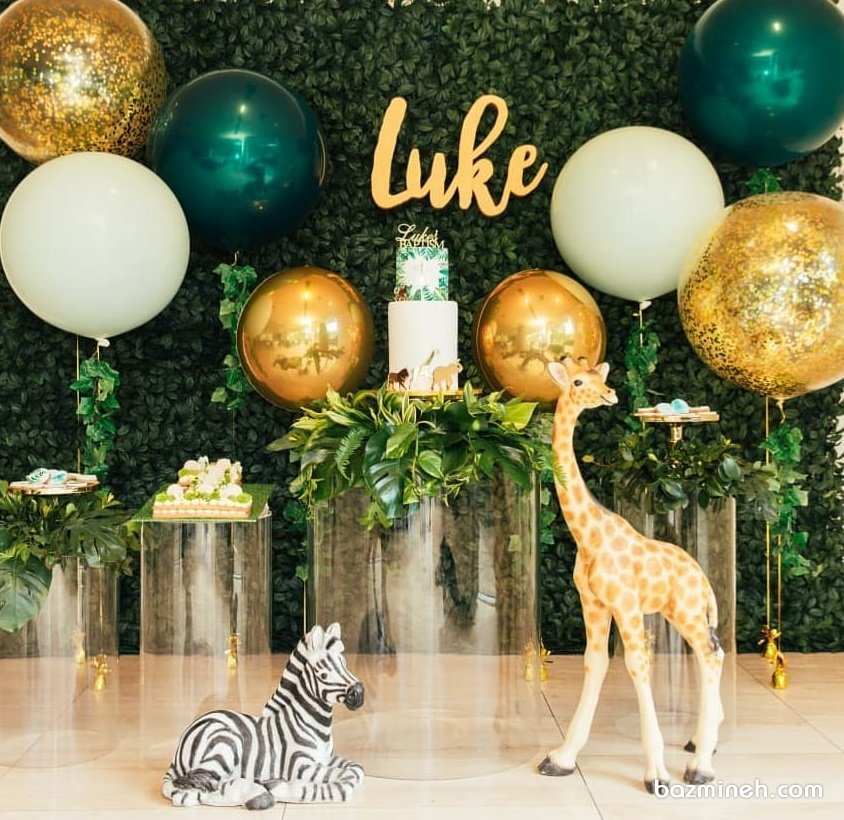 دکوراسیون و بادکنک آرایی جالب جشن تولد کودک با تم جنگل طلایی سبز