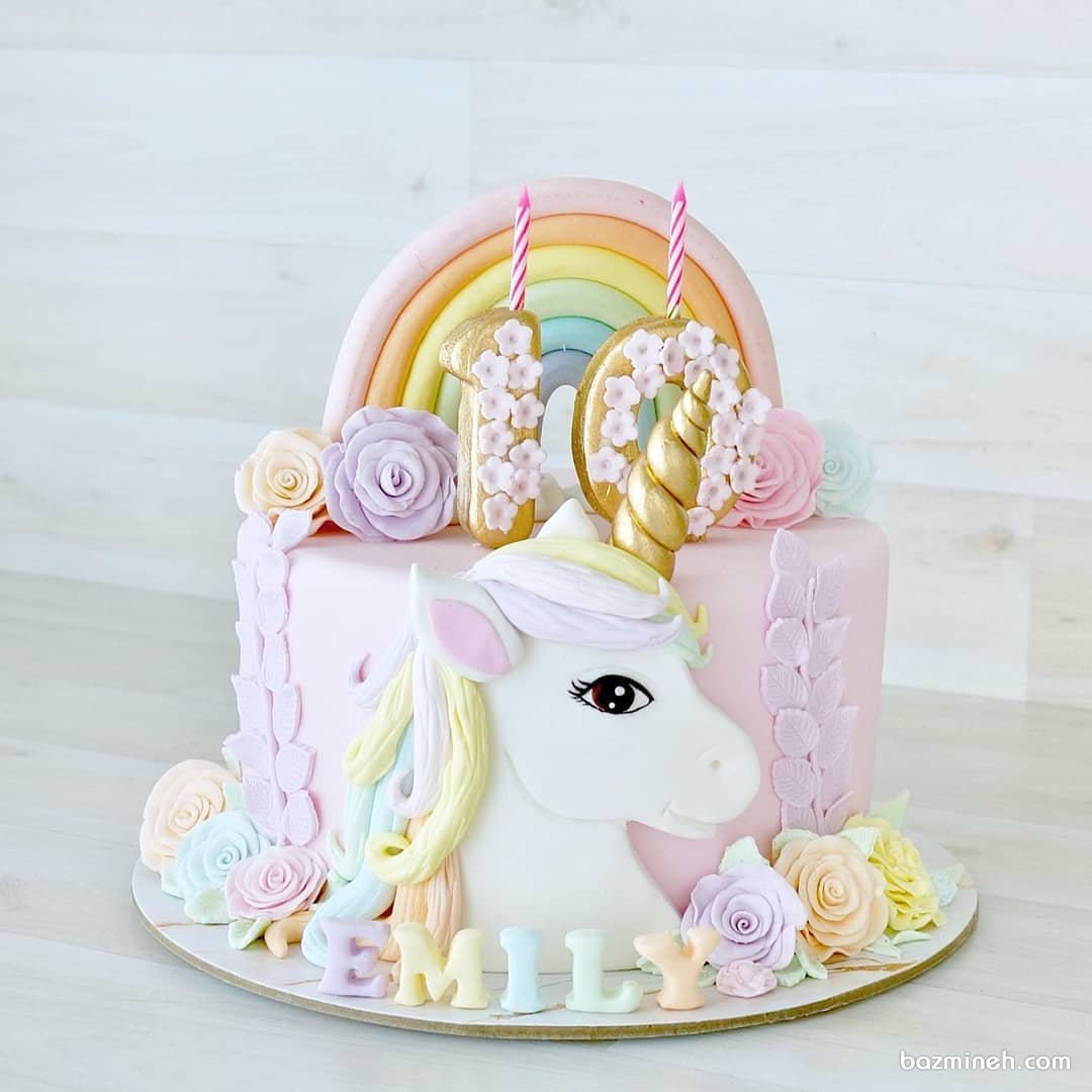 کیک رویایی جشن تولد دخترونه با تم اسب تک شاخ (یونیکورن)