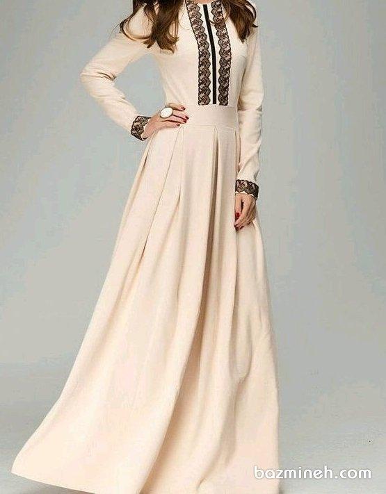 مانتو عقد بلند جلو بسته کرم رنگ گیپوردوزی شده مناسب برای عروس خانم های ساده پسند