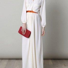 مانتو عقد بلند دامن دار با پارچه کرپ حریر سفید رنگ