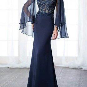 مدل لباس مجلسی زنانه پوشیده با دامن مدل ماهی و آستین های بلند حریر