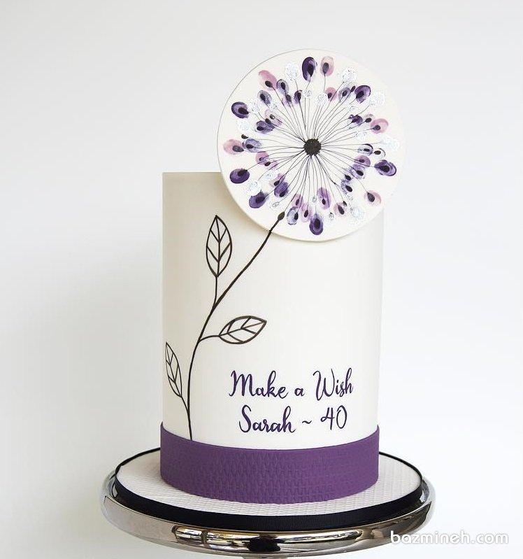 کیک ساده و زیبای جشن تولد بزرگسال با تم قاصدک سفید بنفش