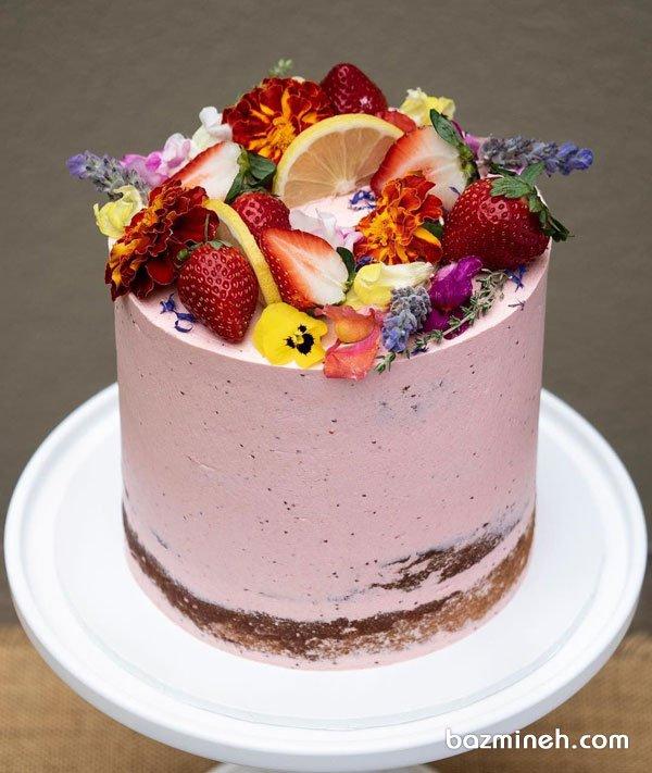 مینی کیک ساده جشن تولد بزرگسال با تم صورتی تزیین شده با میوه و گلهای طبیعی