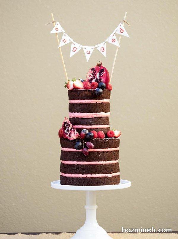 کیک دو طبقه شکلاتی بدون روکش جشن نامزدی با تزیین زیبای میوه های قرمز