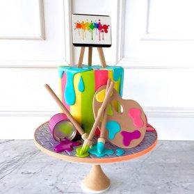 کیک فوندانت جشن تولد کودک با تم قلمو و رنگ روغن