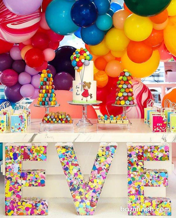 دکوراسیون شاد جشن تولد دخترونه با تم بادکنک های رنگی