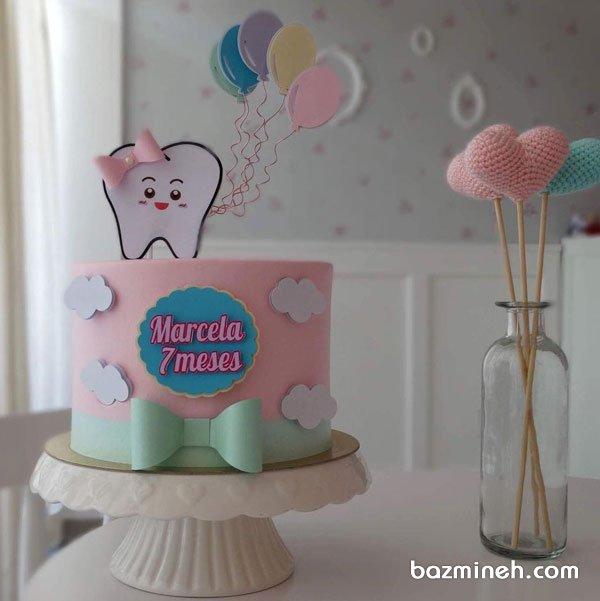 کیک فوندانت جشن دندونی کودک با تم صورتی آبی