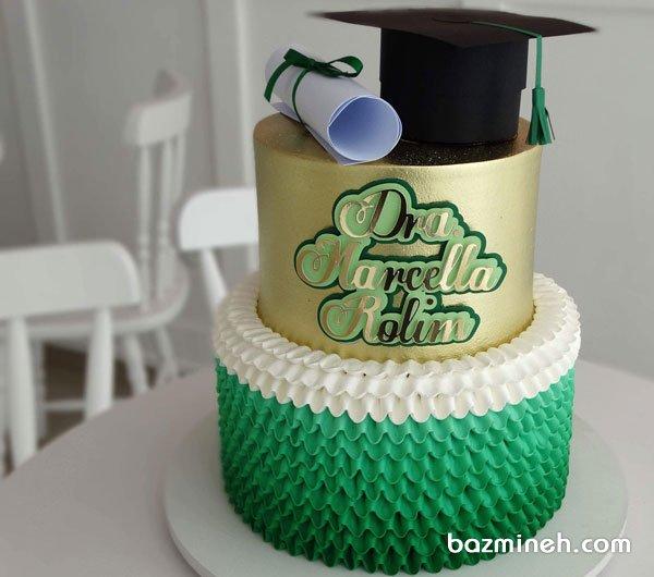 کیک دو طبقه خامهای جشن فارغ التحصیلی با تم طلایی سبز