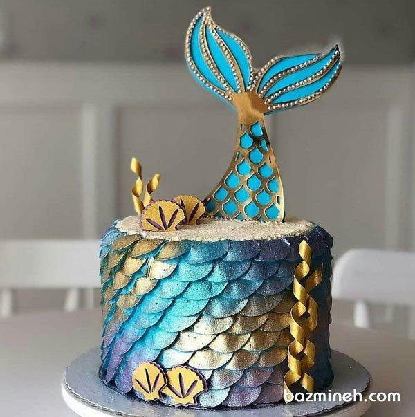 کیک رویایی جشن تولد دخترونه با تم پری دریایی آبی طلایی
