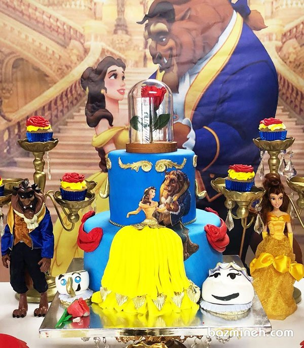 کیک دو طبقه فوندانت و کاپ کیک های جشن تولد دخترونه با تم دیو و دلبر (Beauty and the Beast)