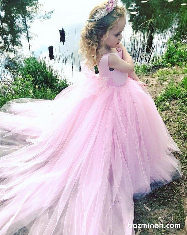 لباس مجلسی کودک با دامن توری پفی بلند مناسب برای جشن تولد پرنسس کوچولوها