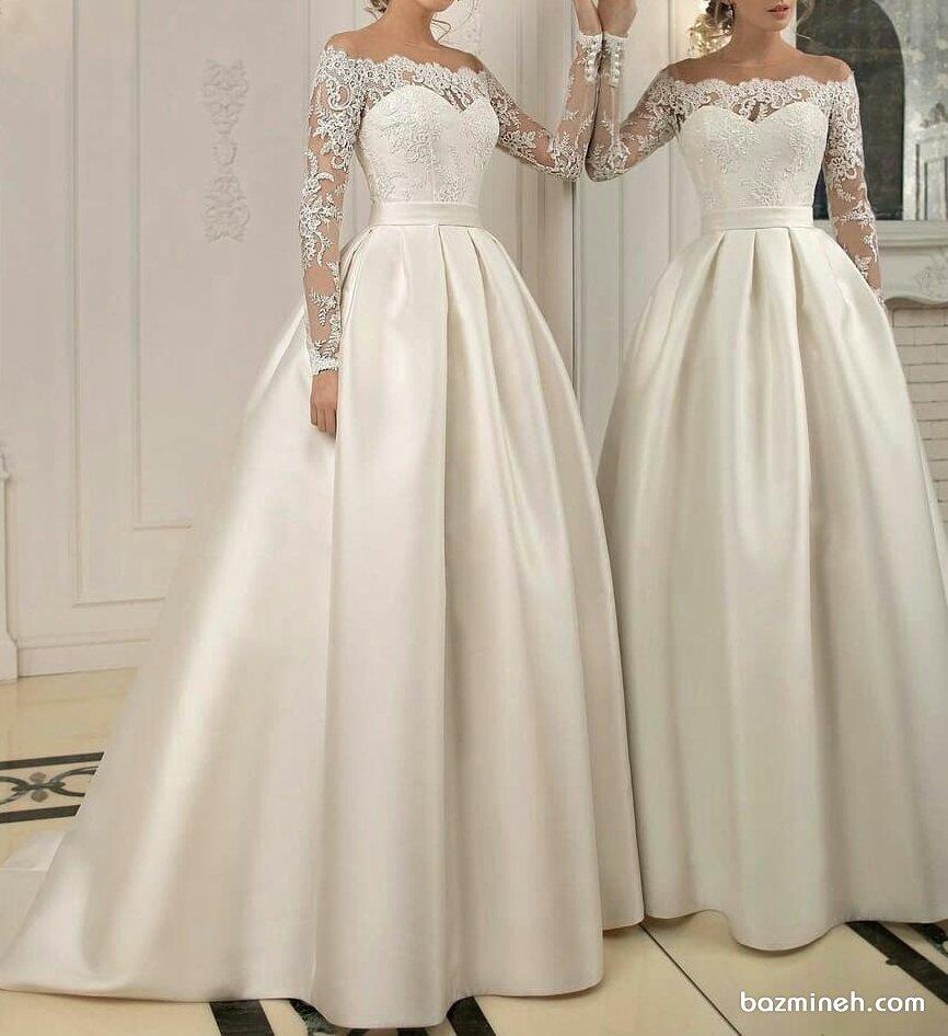 لباس عروس پوشیده آستین دار سنگدوزی شده با یقه مدل دکلته قلبی و دلبری توری (یقه ایلوژن)