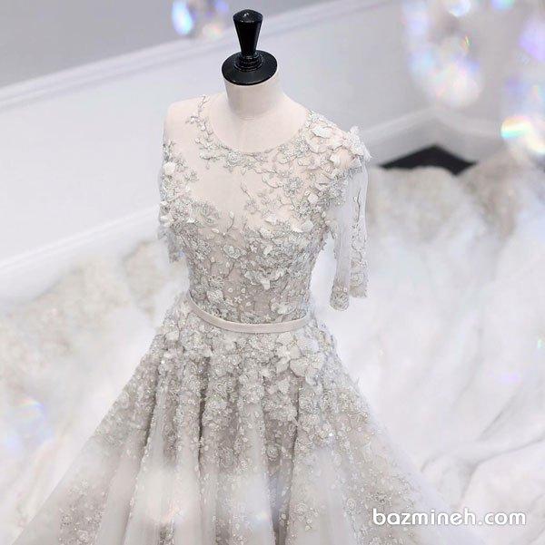 مدل بالاتنه لباس نامزدی یقه گرد با آستین کوتاه و پارچه سنگدوزی و گلدوزی شده