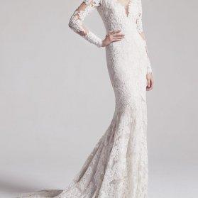 لباس نامزدی ماکسی آستین دار با دامن مدل ماهی دنباله دار مدلی زیبا برای عروس خانم های خوش اندام