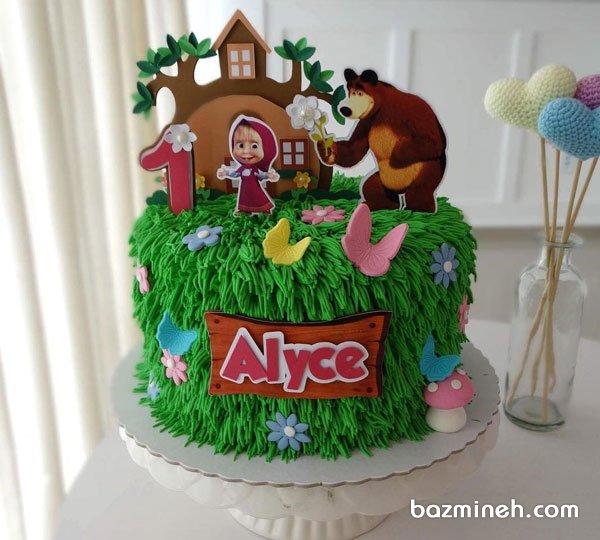 مینی کیک فانتزی جشن تولد دخترونه با تم ماشا و میشا