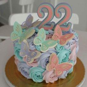 مینی کیک رویایی جشن تولد دخترونه با تم پروانه